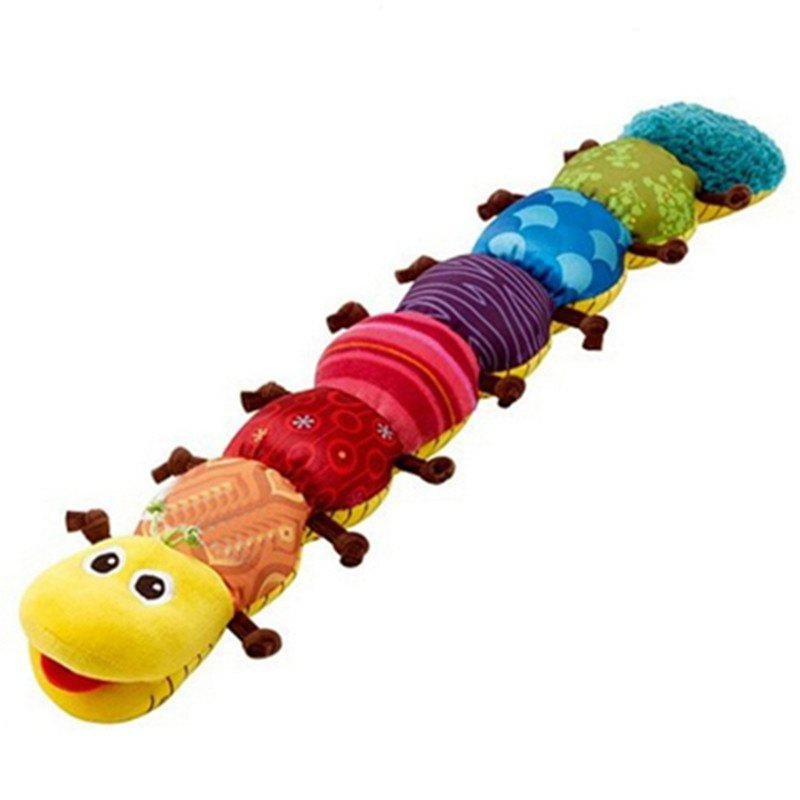Cute Cartoon Caterpillar Plush Doll with Ring Bell Early Learning Educational Kids Toy skull aluminum derby timing timer cover for harley davidson iron 883 sportster 1200 883 xl xr forty eight seventy two