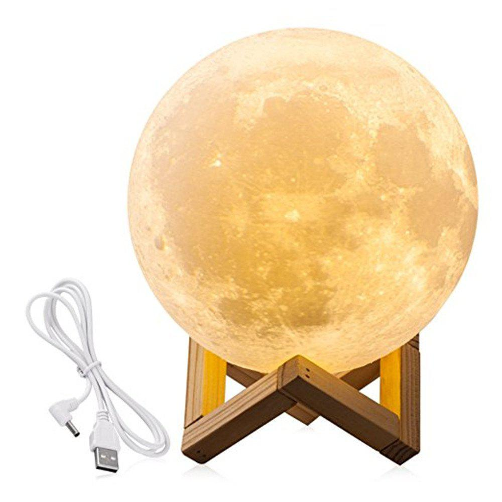 Moon Light 3D LED Printing Moon Lamp with USB Touch Control and USB Charger, Warm and Cool White Night Light 5.52 in wake up night light alarm clock sunrise simulation dusk fading night light with nature sounds fm radio touch control usb charger