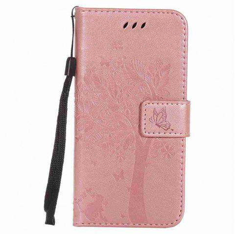 Double Embossed Sun Flower PU TPU Phone Case for HTC M9 - ROSE GOLD
