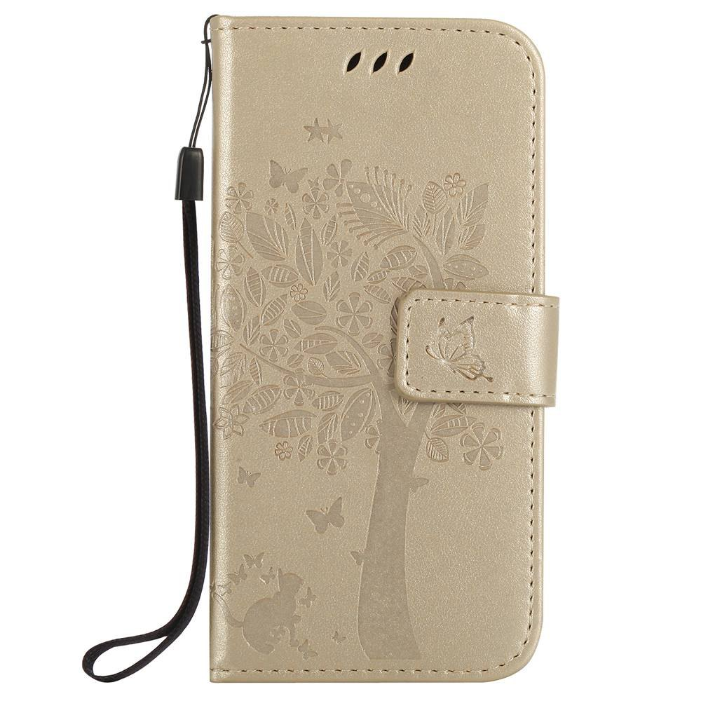 Double Embossed Sun Flower PU TPU Phone Case for HTC M9 - GOLDEN