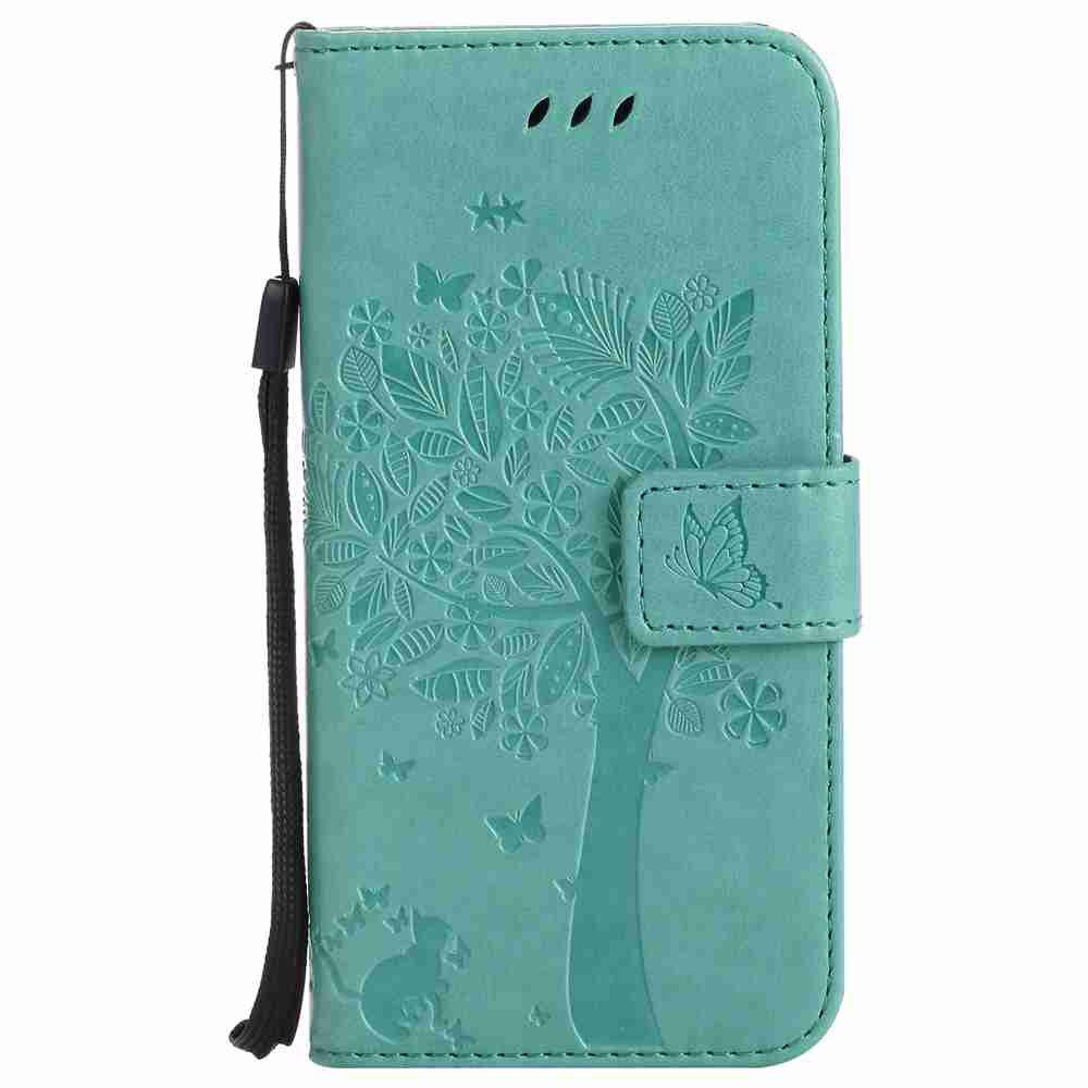 Double Embossed Sun Flower PU TPU Phone Case for HTC M9 - GREEN