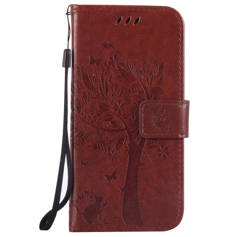 Double Embossed Sun Flower PU TPU Phone Case for HTC M9 - COFFEE