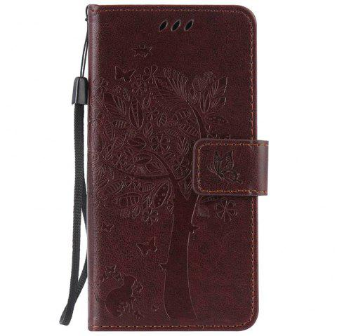 Double Embossed Sun Flower PU TPU Phone Case for ASUS ZenFone ZD552KL - BROWN