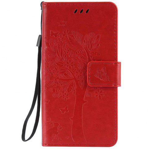 Double Embossed Sun Flower PU TPU Phone Case for ASUS ZenFone ZD552KL - RED