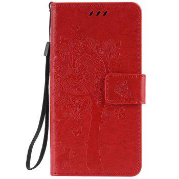 Double Embossed Sun Flower PU TPU Phone Case for ASUS ZenFone ZD552KL - RED RED