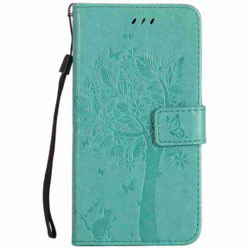 Double Embossed Sun Flower PU TPU Phone Case for ASUS ZenFone ZD552KL - GREEN GREEN