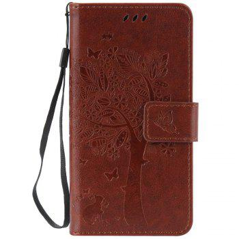 Double Embossed Sun Flower PU TPU Phone Case for ASUS ZenFone ZD552KL - COFFEE COFFEE