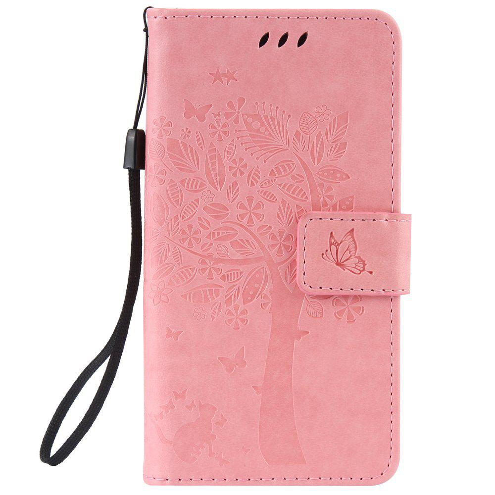 Double Embossed Sun Flower PU TPU Phone Case for ASUS ZenFone ZD552KL - PINK