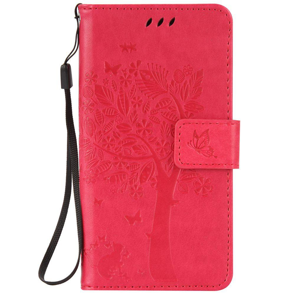 Double Embossed Sun Flower PU TPU Phone Case for ASUS ZenFone ZD552KL - ROSE MADDER