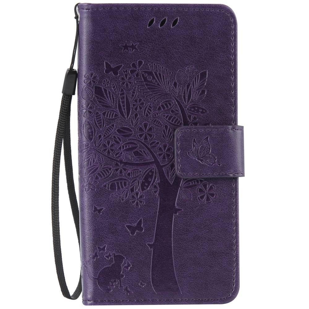Double Embossed Sun Flower PU TPU Phone Case for ASUS ZenFone ZD552KL - PURPLE