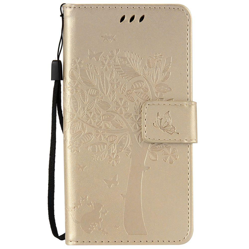 Double Embossed Sun Flower PU TPU Phone Case for ASUS ZenFone ZD552KL - GOLDEN