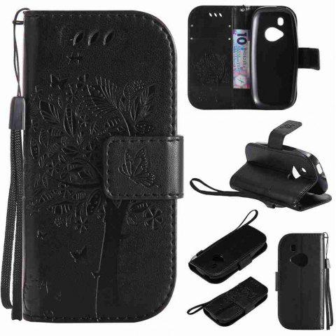 Double Embossed Sun Flower PU TPU Phone Case for Nokia 3310 - BLACK