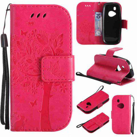 Double Embossed Sun Flower PU TPU Phone Case for Nokia 3310 - ROSE MADDER
