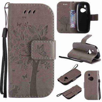 Double Embossed Sun Flower PU TPU Phone Case for Nokia 3310 - GRAY GRAY