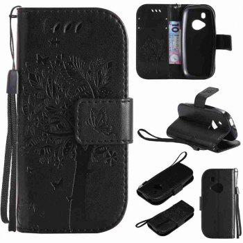 Double Embossed Sun Flower PU TPU Phone Case for Nokia 3310 - BLACK BLACK