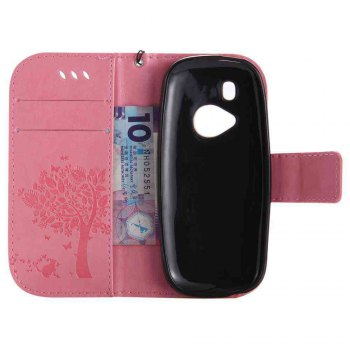 Double Embossed Sun Flower PU TPU Phone Case for Nokia 3310 -  PINK