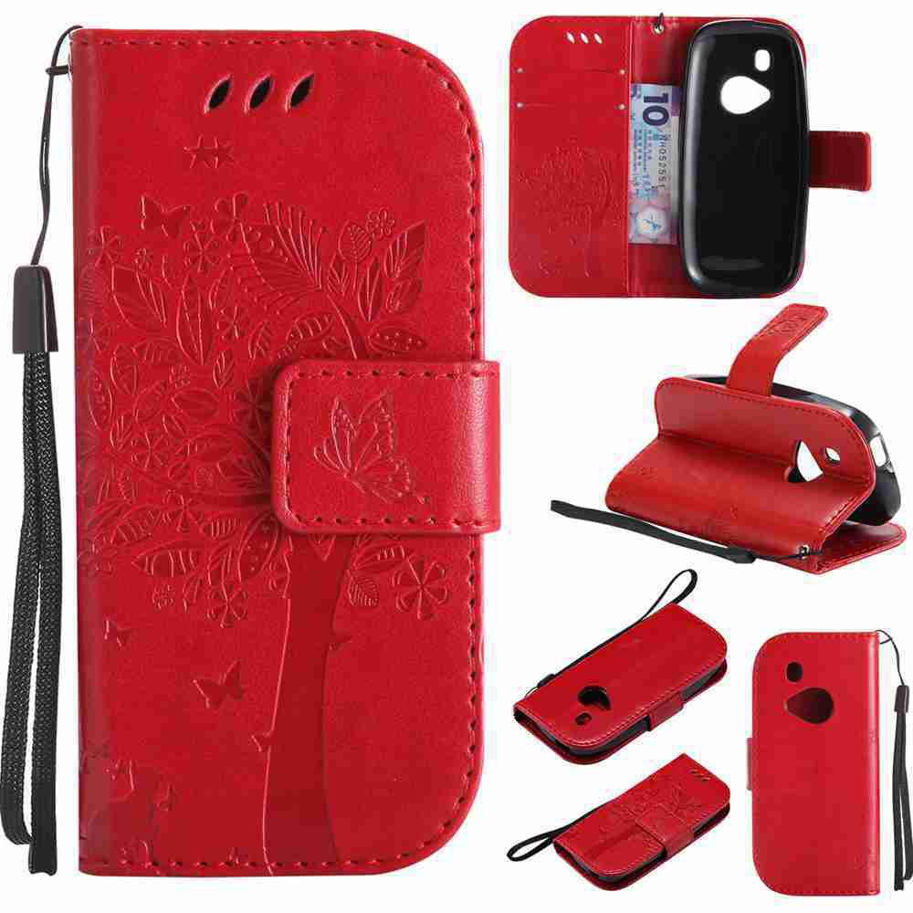 Double Embossed Sun Flower PU TPU Phone Case for Nokia 3310 - RED