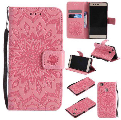 Embossed Sun Flower PU TPU Phone Case for HUAWEI  P9 Lite - RED