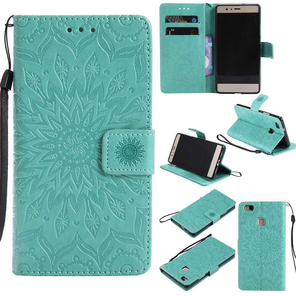 Embossed Sun Flower PU TPU Phone Case for HUAWEI  P9 Lite - PURPLE