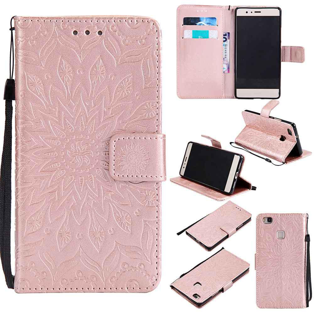 Embossed Sun Flower PU TPU Phone Case for HUAWEI  P9 Lite - GOLDEN