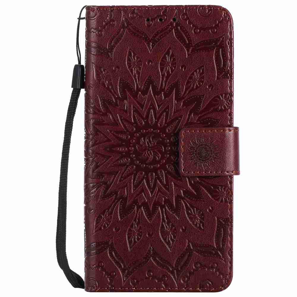 Embossed Sun Flower PU TPU Phone Case for HUAWEI  Y3 2017 - BROWN