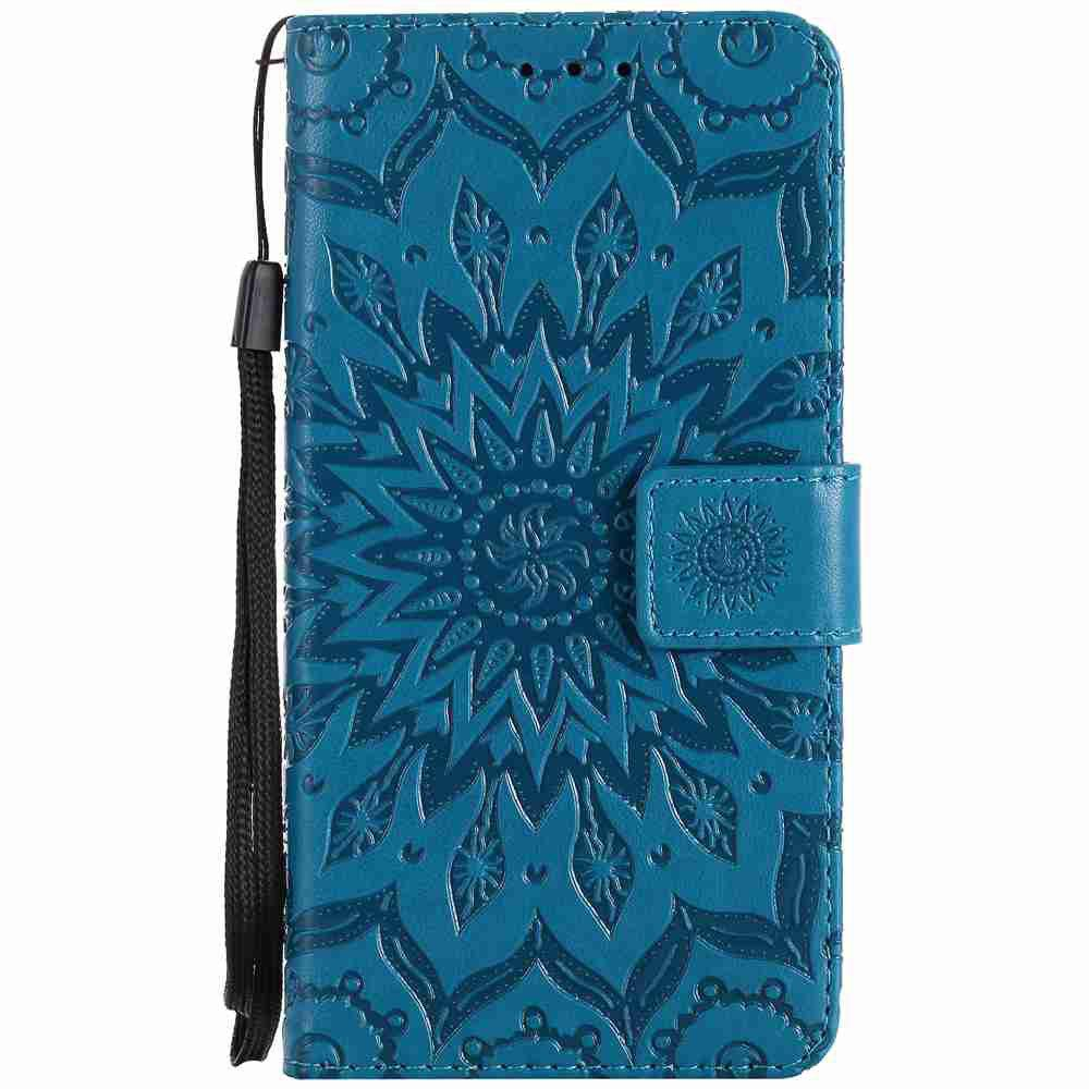 Embossed Sun Flower PU TPU Phone Case for HUAWEI  Y3 2017 - BLUE