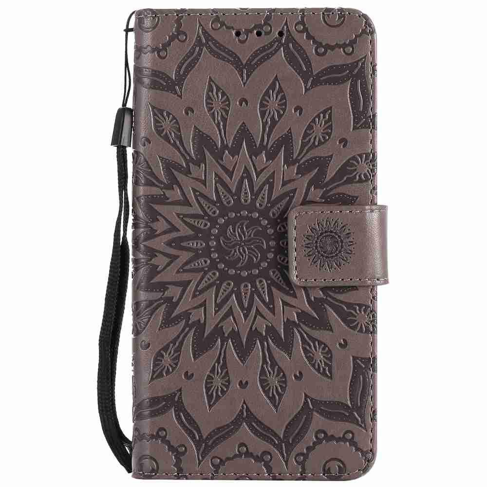 Embossed Sun Flower PU TPU Phone Case for HUAWEI  Y3 2017 - GRAY