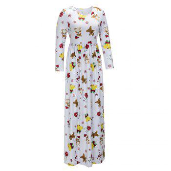 2017 Nouveau Lovely Christmas Floral Robes - Blanc M