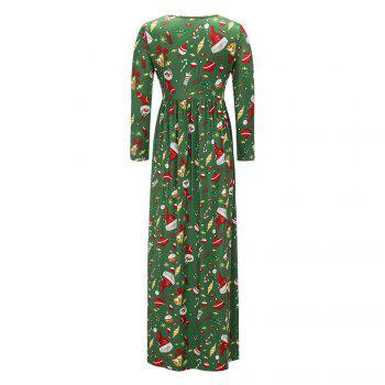 2017 Nouveau Lovely Christmas Floral Robes - Vert clair XL