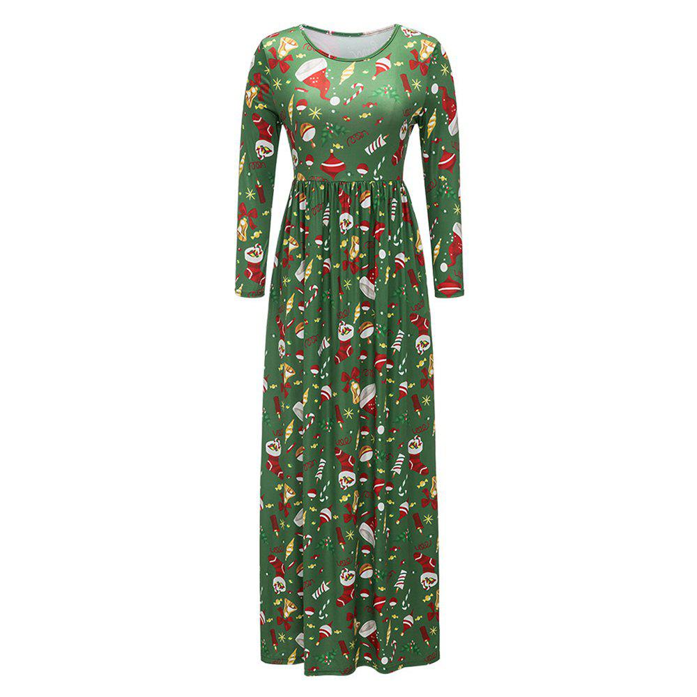 2017 New Lovely Christmas Floral Dresses - LIGHT GREEN L