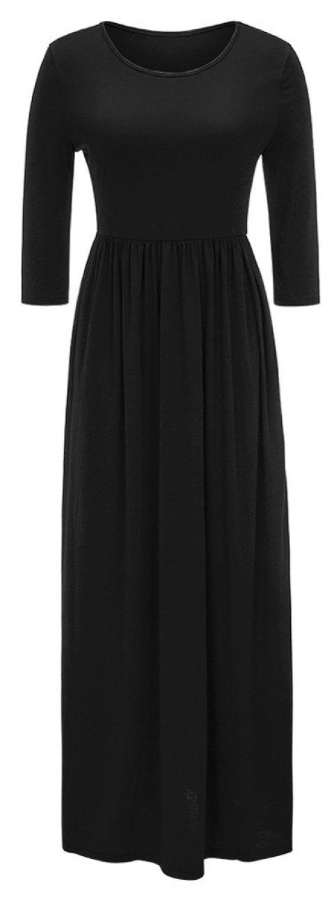 2017 New Seven-Part  Long Sleeve Dress - BLACK L