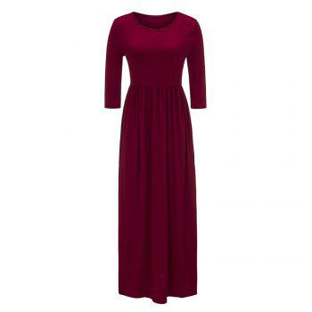 2017 New Seven-Part  Long Sleeve Dress - RED RED