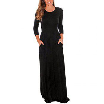 2017 New Seven-Part  Long Sleeve Dress - BLACK 2XL