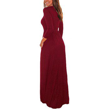 2017 New Seven-Part  Long Sleeve Dress - RED L