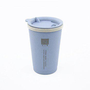 DIHE Wheat Straw Double Deck Open Cup Convenient Cute Heat Preservation - BLUE BLUE