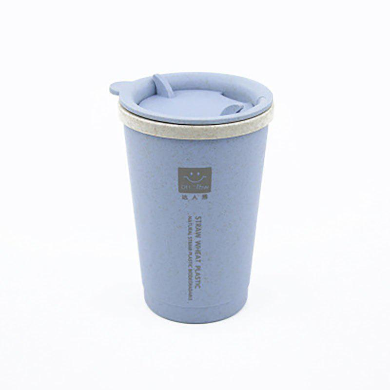 DIHE Wheat Straw Double Deck Open Cup Convenient Cute Heat Preservation - BLUE