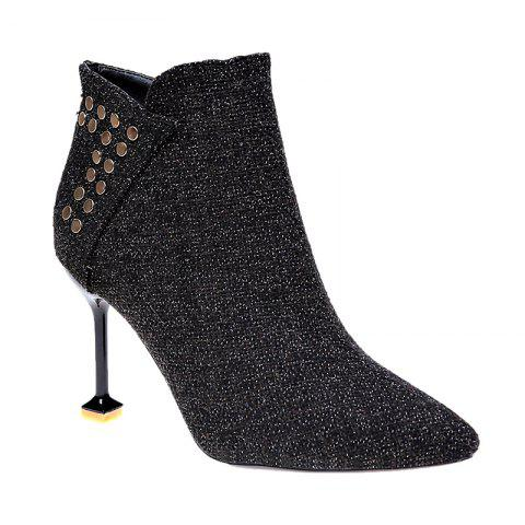 HP-963Pointed Nails Zipper Heels Boots - BLACK 36