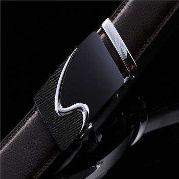 Men's Leather Belt Reversible Rotated Simple Automatic Buckle - BLACK 110CM
