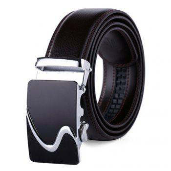 Men's Leather Belt Reversible Rotated Simple Automatic Buckle - BLACK BLACK