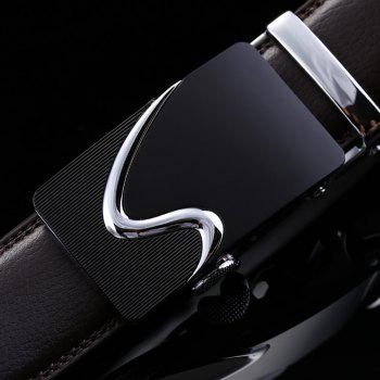 Men's Leather Belt Reversible Rotated Simple Automatic Buckle - BLACK 125CM