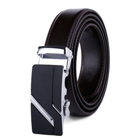 Simple Genuine Leather Belt for Men with Automatic Buckle - BLACK 110CM