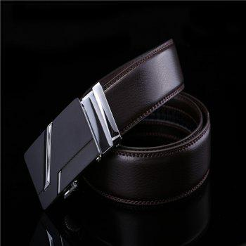Simple Genuine Leather Belt for Men with Automatic Buckle - BLACK BLACK