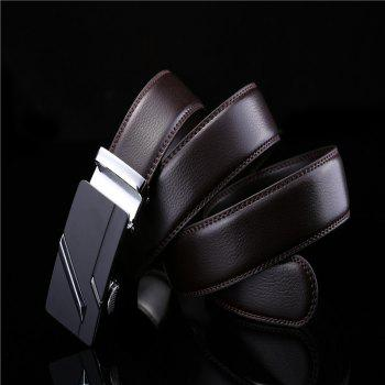 Simple Genuine Leather Belt for Men with Automatic Buckle - BLACK 120CM