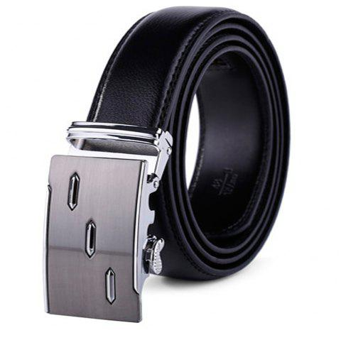 Men's Leather Ratchet Belt Automatic Sliding Buckle Designer - BLACK 125CM