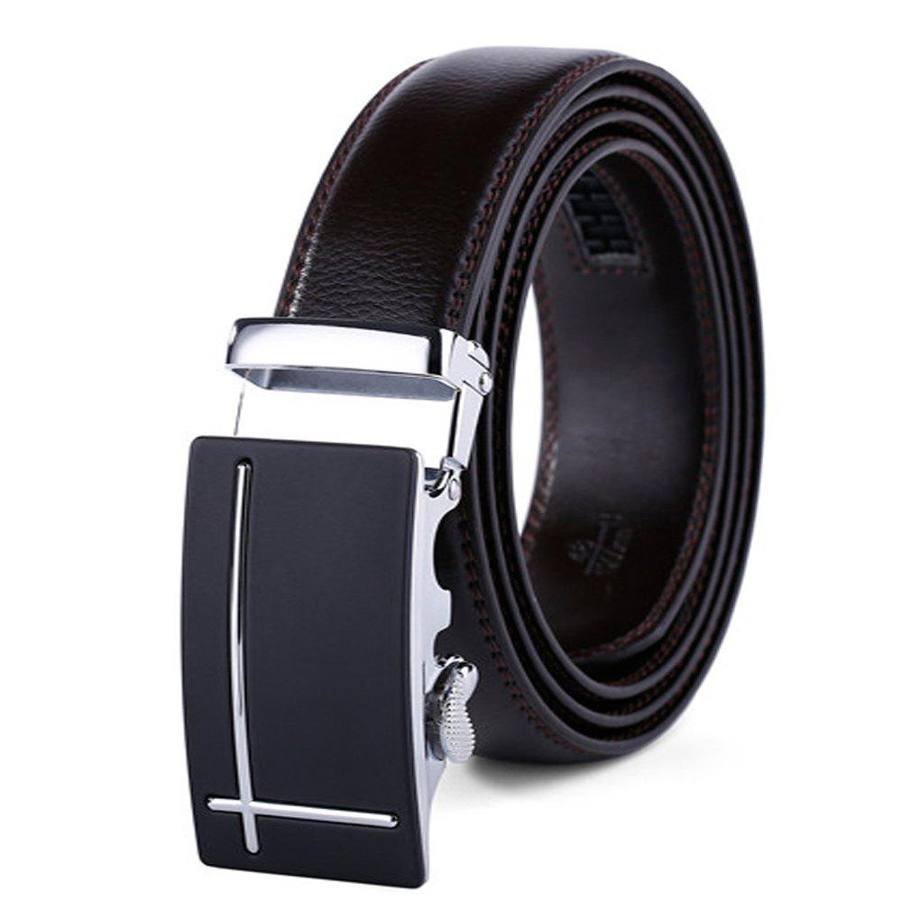 Men's Fashion Leather Ratchet Belt Automatic Sliding Buckle Designer - BLACK 110CM