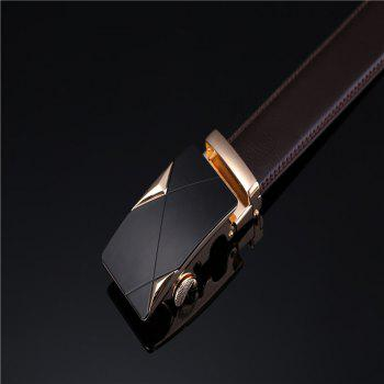 Men's Solid Buckle with Automatic Ratchet Leather Belt - BLACK 120CM