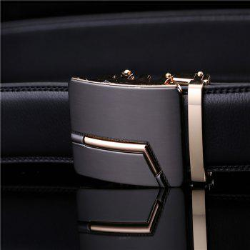 Men's Fashion Solid Buckle with Automatic Ratchet Leather Belt - BLACK 120CM