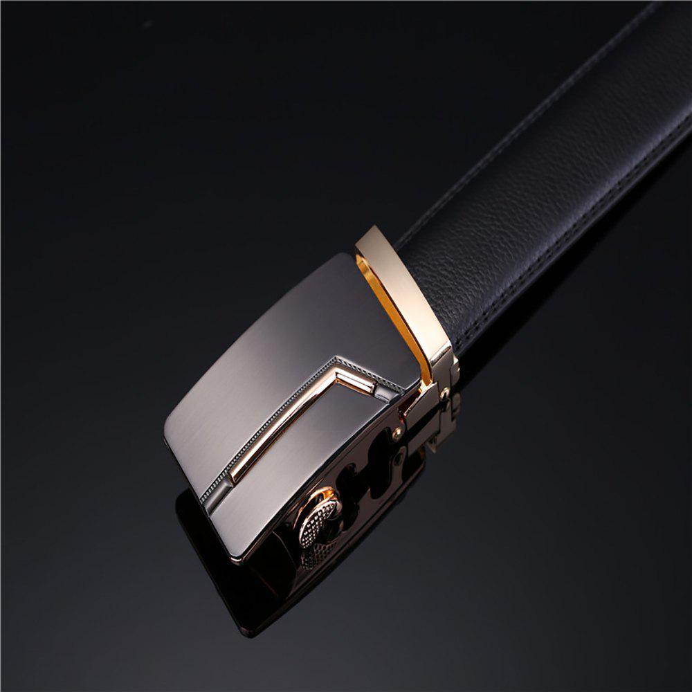 Men's Fashion Solid Buckle with Automatic Ratchet Leather Belt - BLACK 110CM