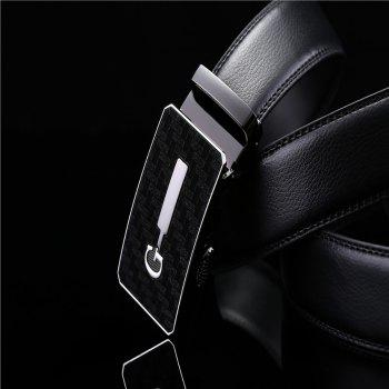 Men's Simple Solid Buckle with Automatic Ratchet Leather Belt - BLACK 110CM