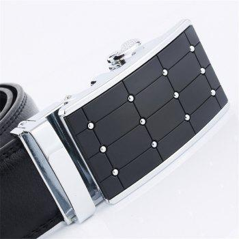 Men's Leather Ratchet Belt with Automatic Adjustable Star Buckle - SILVER 115CM